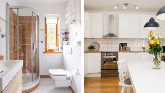 Cuisine et salle de bain d'une maison